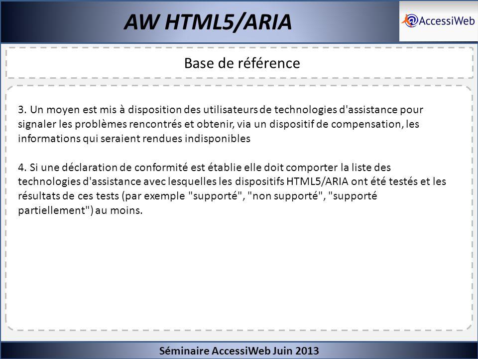 Séminaire AccessiWeb Juin 2013 AW HTML5/ARIA Base de référence 3. Un moyen est mis à disposition des utilisateurs de technologies d'assistance pour si