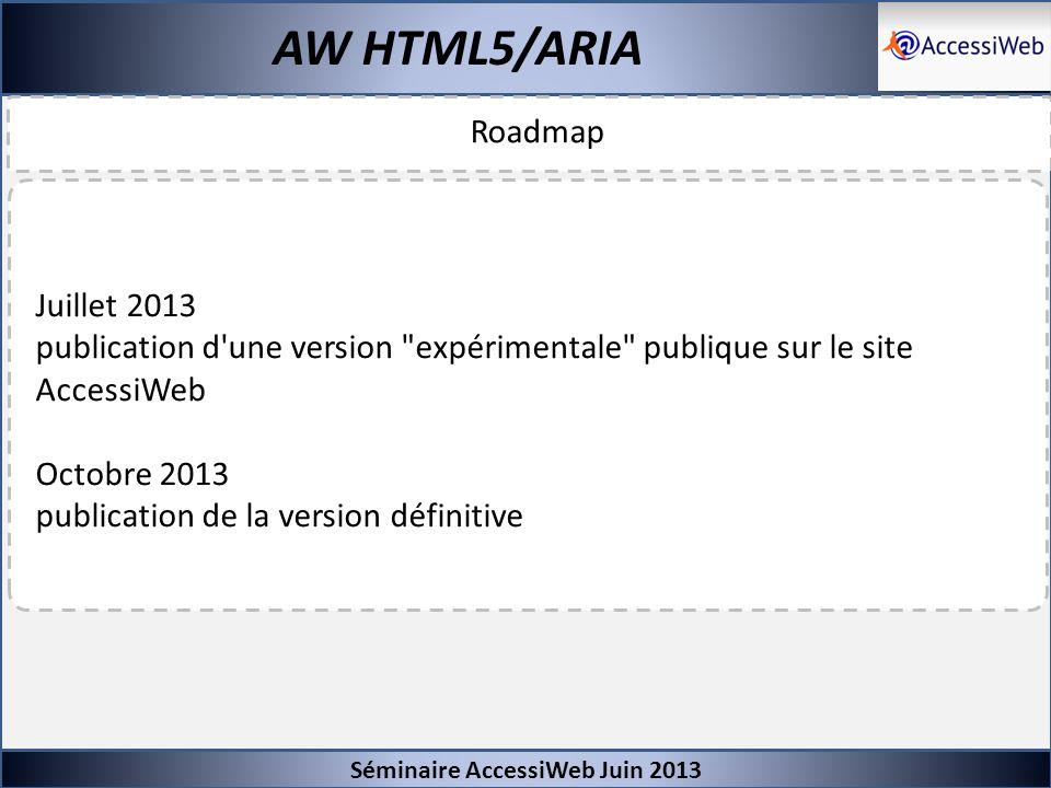 Séminaire AccessiWeb Juin 2013 Roadmap AW HTML5/ARIA Juillet 2013 publication d'une version
