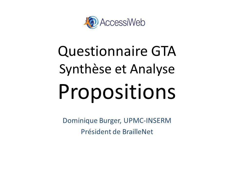 Questionnaire GTA Synthèse et Analyse Propositions Dominique Burger, UPMC-INSERM Président de BrailleNet