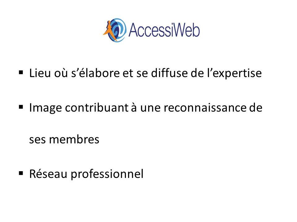 AccessiWeb Lieu où sélabore et se diffuse de lexpertise Image contribuant à une reconnaissance de ses membres Réseau professionnel