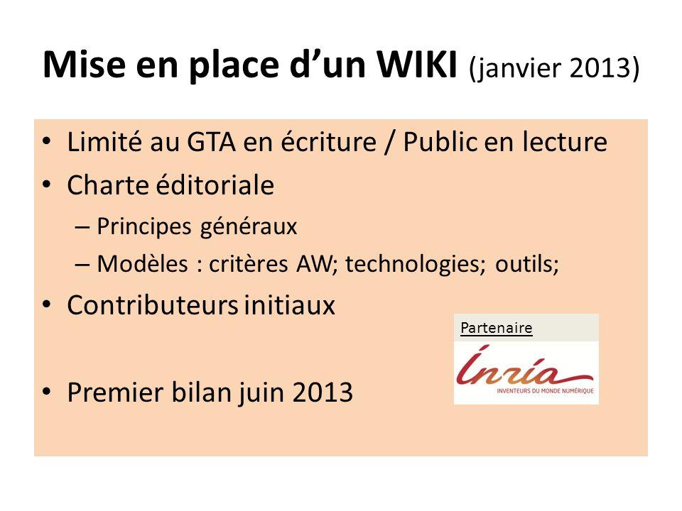 Mise en place dun WIKI (janvier 2013) Limité au GTA en écriture / Public en lecture Charte éditoriale – Principes généraux – Modèles : critères AW; te