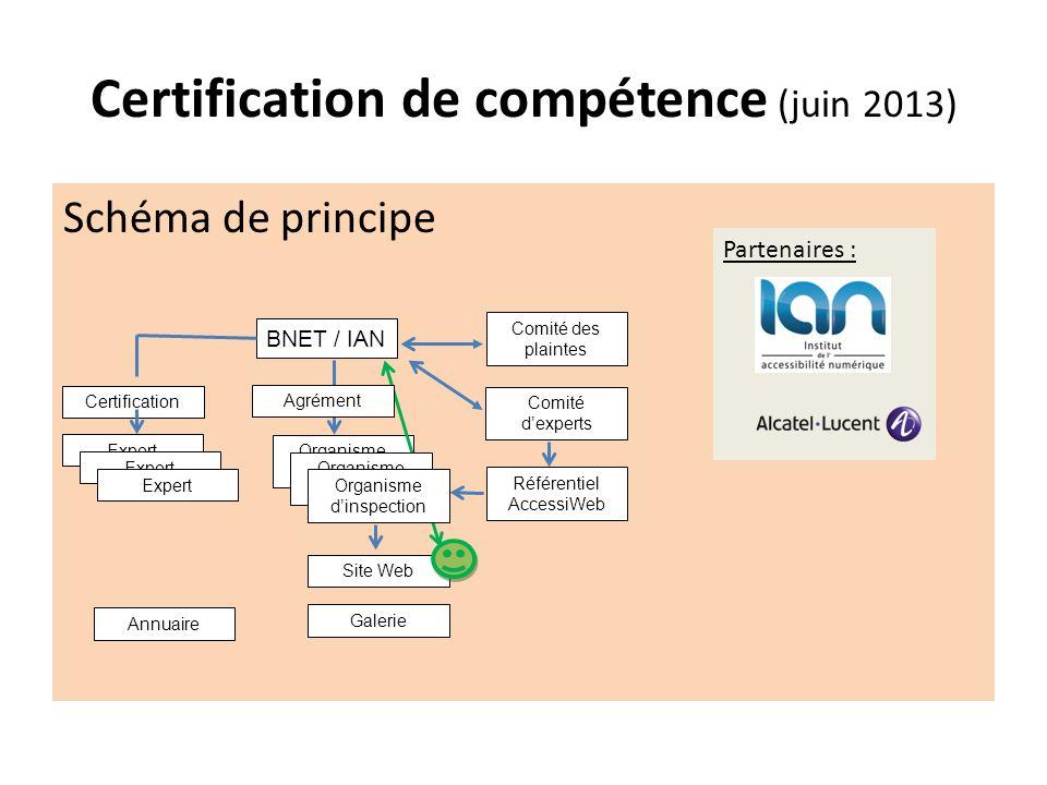 Certification de compétence (juin 2013) Schéma de principe Partenaires : BNET / IAN Comité dexperts Comité des plaintes Référentiel AccessiWeb Organis