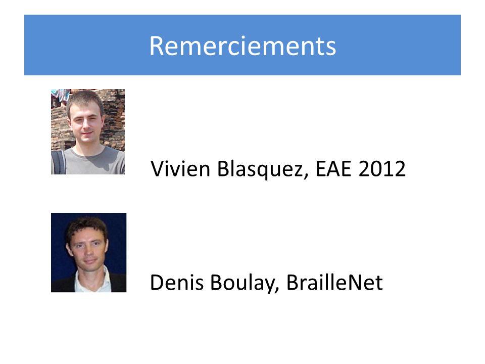 Remerciements Vivien Blasquez, EAE 2012 Denis Boulay, BrailleNet