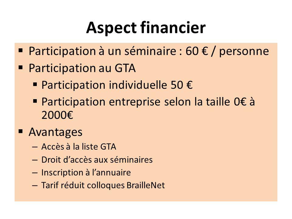 Aspect financier Participation à un séminaire : 60 / personne Participation au GTA Participation individuelle 50 Participation entreprise selon la tai