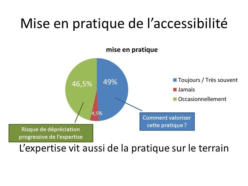 Mise en pratique de laccessibilité Lexpertise vit aussi de la pratique sur le terrain Risque de dépréciation progressive de lexpertise Comment valoris