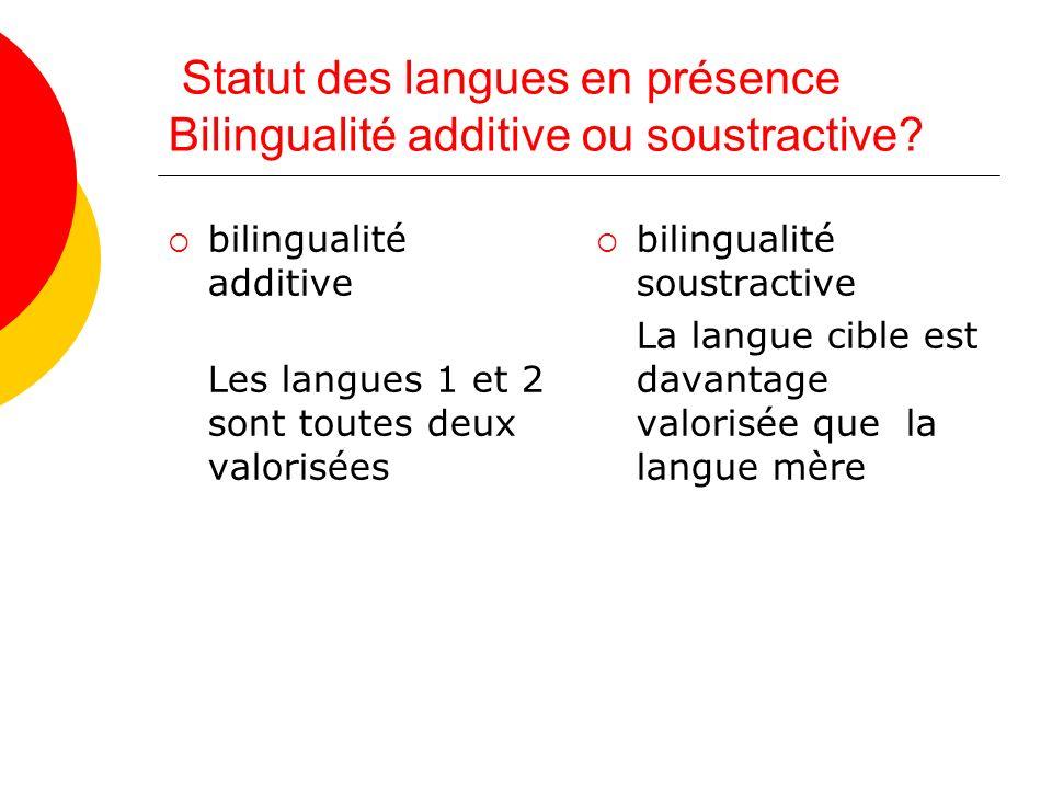 Statut des langues en présence Bilingualité additive ou soustractive.