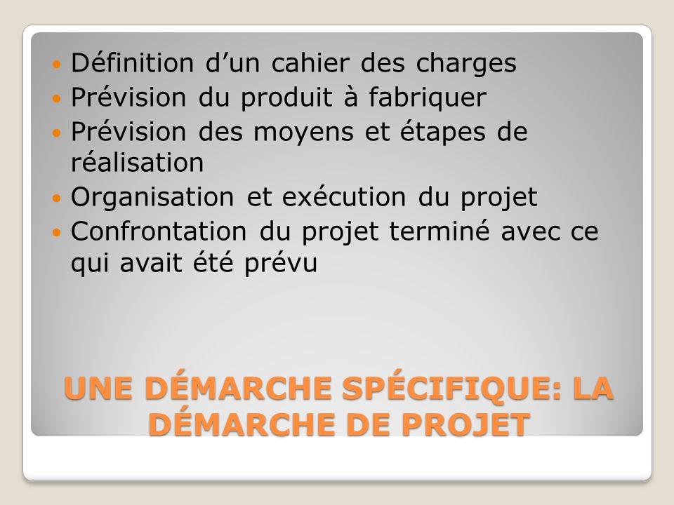 UNE DÉMARCHE SPÉCIFIQUE: LA DÉMARCHE DE PROJET Définition dun cahier des charges Prévision du produit à fabriquer Prévision des moyens et étapes de ré