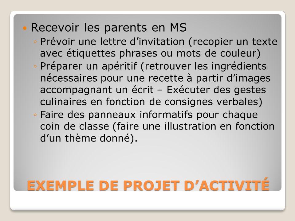 EXEMPLE DE PROJET DACTIVITÉ Recevoir les parents en MS Prévoir une lettre dinvitation (recopier un texte avec étiquettes phrases ou mots de couleur) P