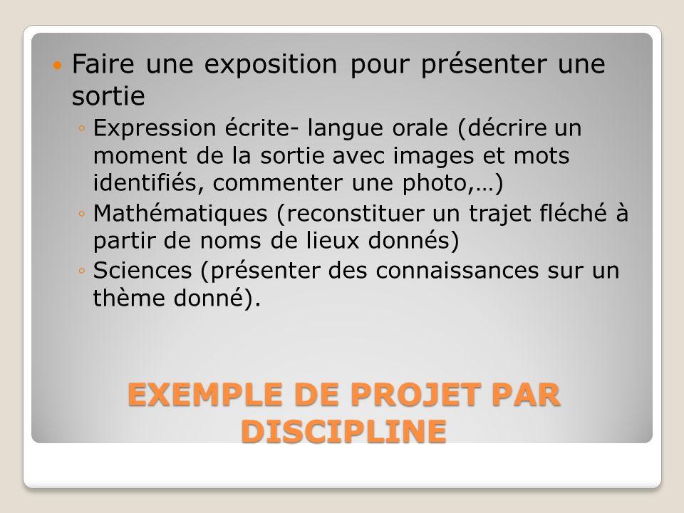 EXEMPLE DE PROJET PAR DISCIPLINE Faire une exposition pour présenter une sortie Expression écrite- langue orale (décrire un moment de la sortie avec i