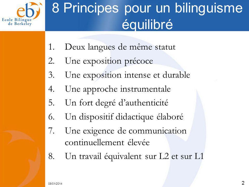 08/01/2014 2 8 Principes pour un bilinguisme équilibré 1.Deux langues de même statut 2.Une exposition précoce 3.Une exposition intense et durable 4.Un