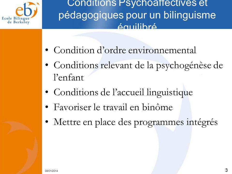 08/01/2014 3 Conditions Psychoaffectives et pédagogiques pour un bilinguisme équilibré Condition dordre environnemental Conditions relevant de la psyc