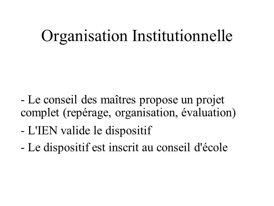 Organisation Institutionnelle - Le conseil des maîtres propose un projet complet (repérage, organisation, évaluation) - L'IEN valide le dispositif - L
