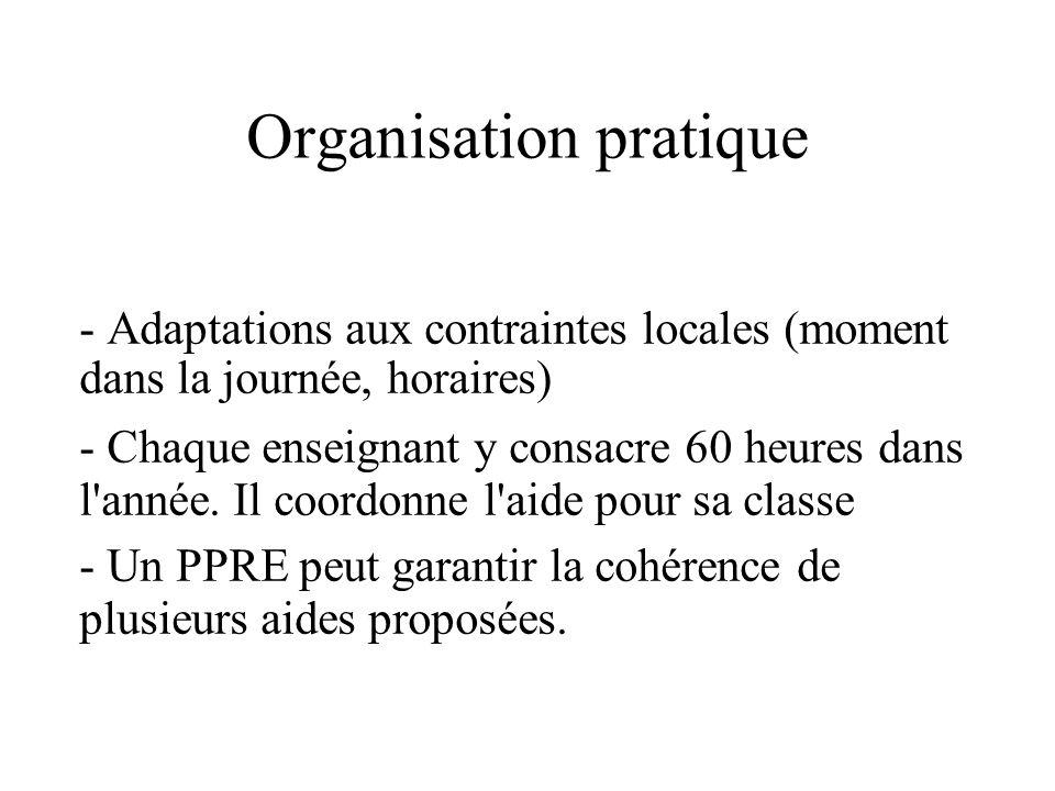 Organisation pratique - Adaptations aux contraintes locales (moment dans la journée, horaires) - Chaque enseignant y consacre 60 heures dans l'année.