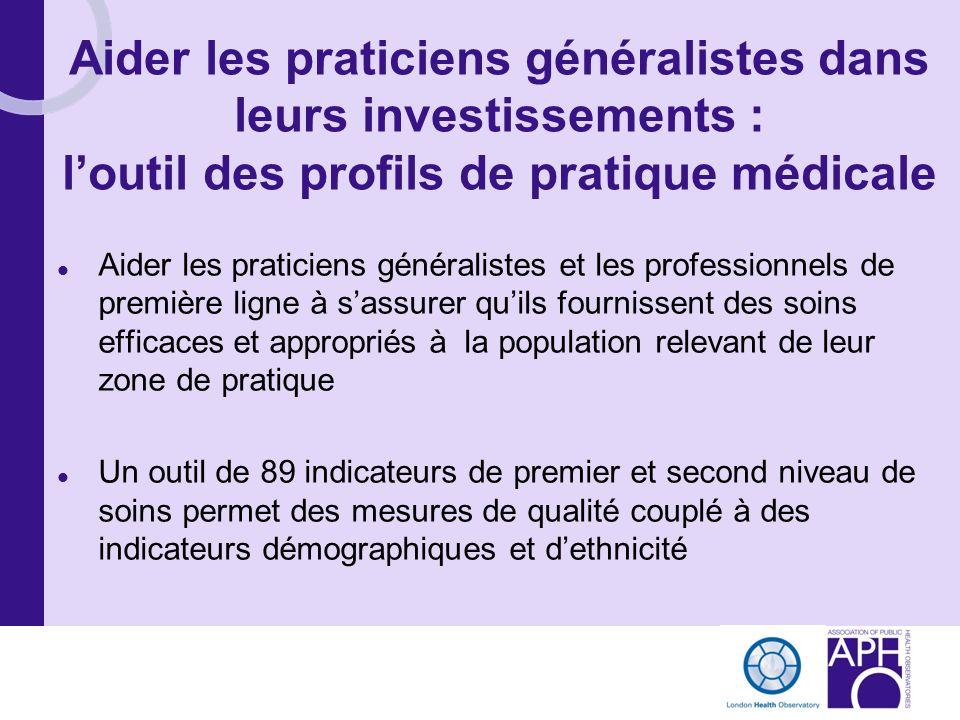 Aider les praticiens généralistes dans leurs investissements : loutil des profils de pratique médicale Aider les praticiens généralistes et les profes