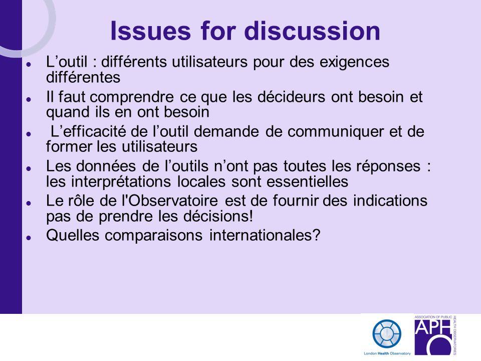 Issues for discussion Loutil : différents utilisateurs pour des exigences différentes Il faut comprendre ce que les décideurs ont besoin et quand ils