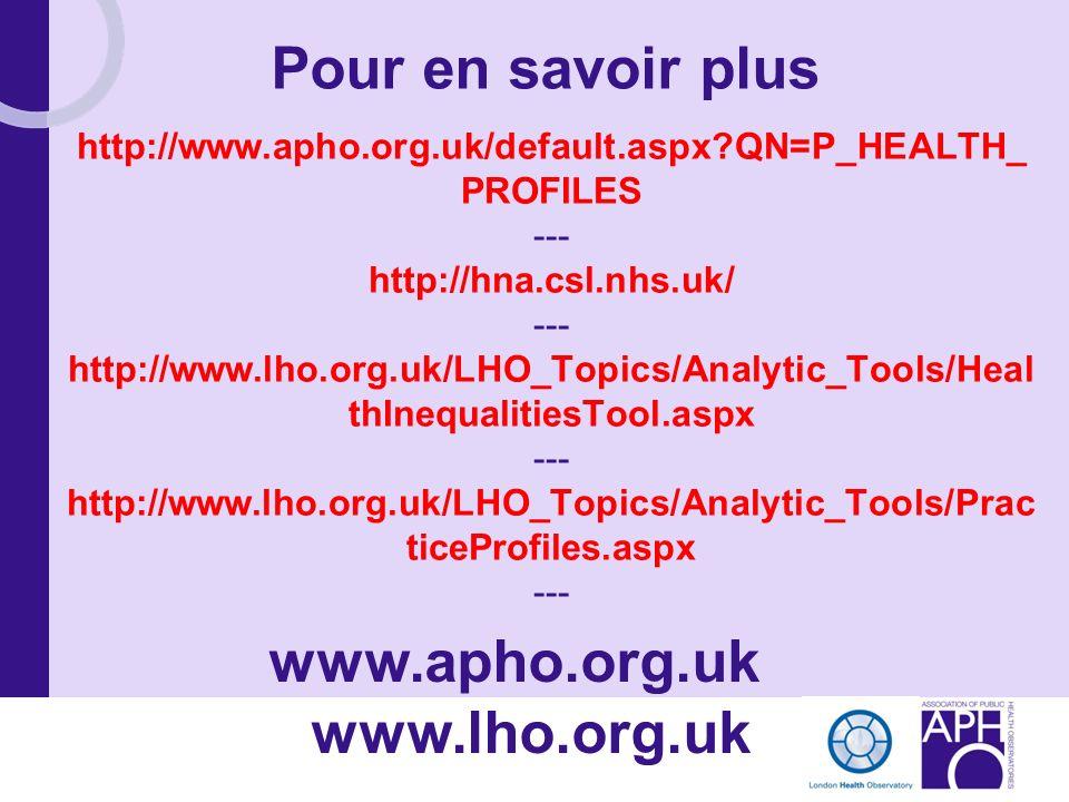 http://www.apho.org.uk/default.aspx?QN=P_HEALTH_ PROFILES --- http://hna.csl.nhs.uk/ --- http://www.lho.org.uk/LHO_Topics/Analytic_Tools/Heal thInequa