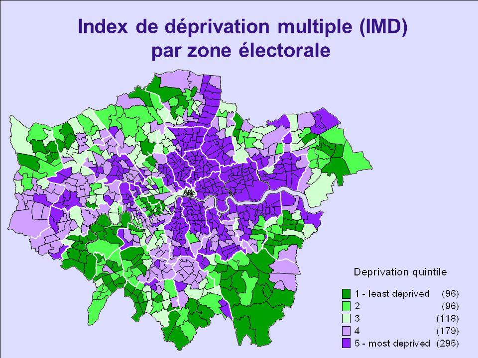 Pourcentage de personnes appartenant à une minorité ethnique par quartier Source: 2001 Census