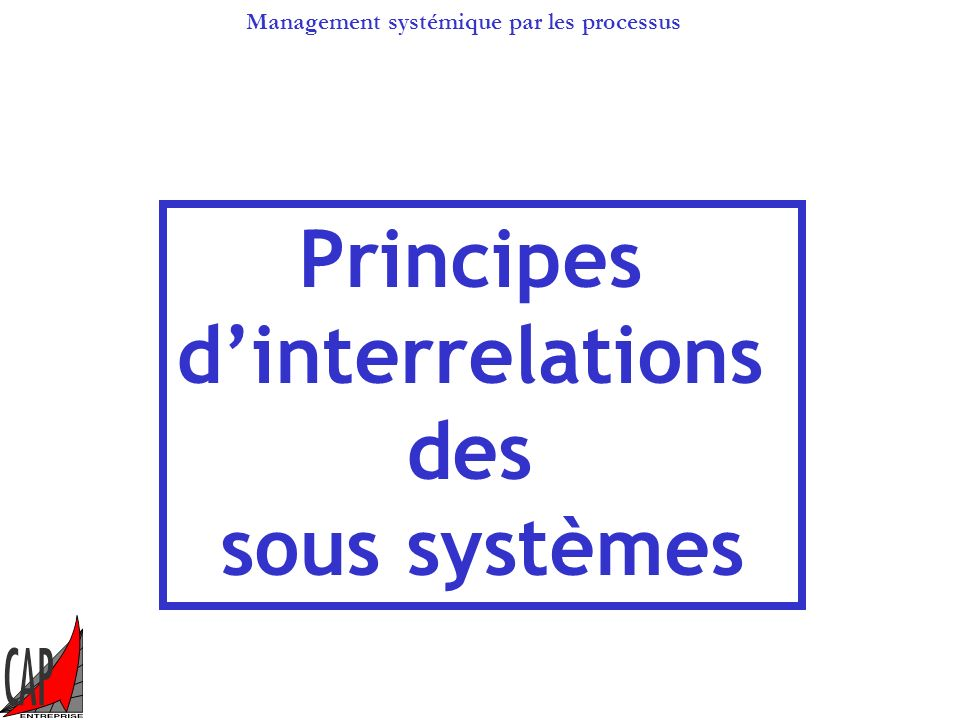 Management systémique par les processus Processus missions et processus de management Direction Finance Technique Marketing R et D Niveau « fonctions