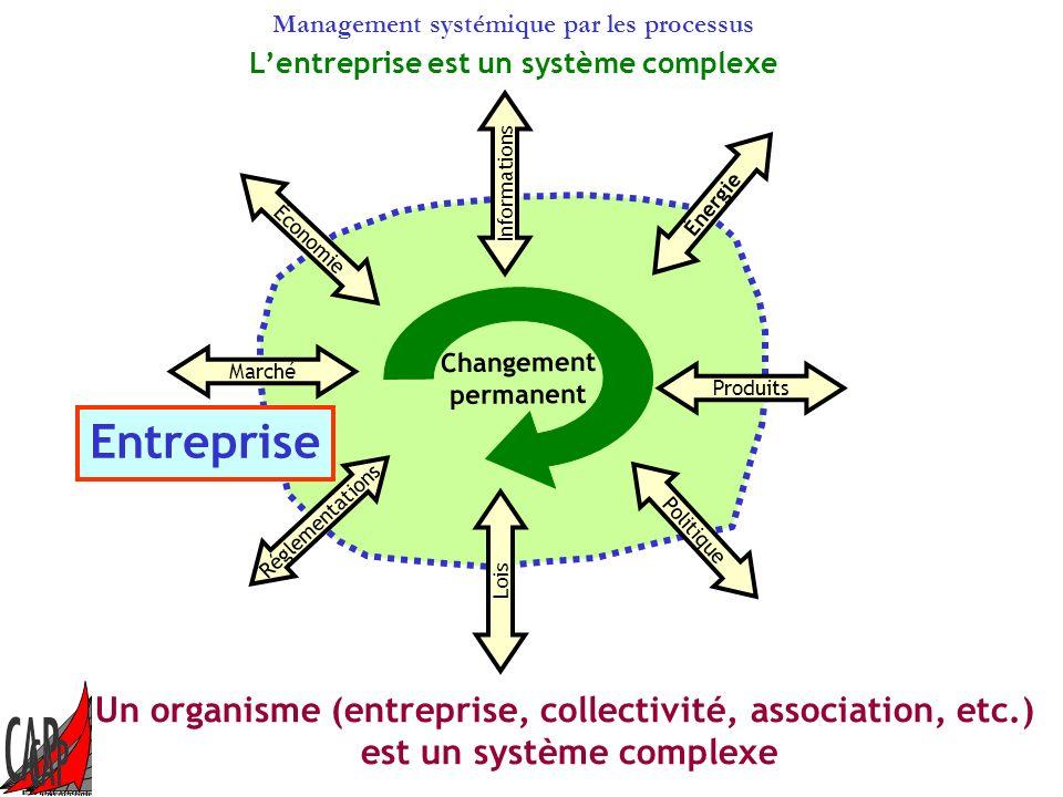 Management systémique par les processus Énergie Informations Économie Marché Réglementations Lois Politique Produits Entreprise Changement permanent Un organisme (entreprise, collectivité, association, etc.) est un système complexe Lentreprise est un système complexe