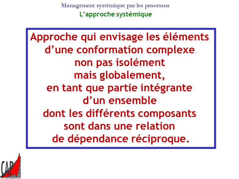Management systémique par les processus Lapproche systémique Approche qui envisage les éléments dune conformation complexe non pas isolément mais globalement, en tant que partie intégrante dun ensemble dont les différents composants sont dans une relation de dépendance réciproque.