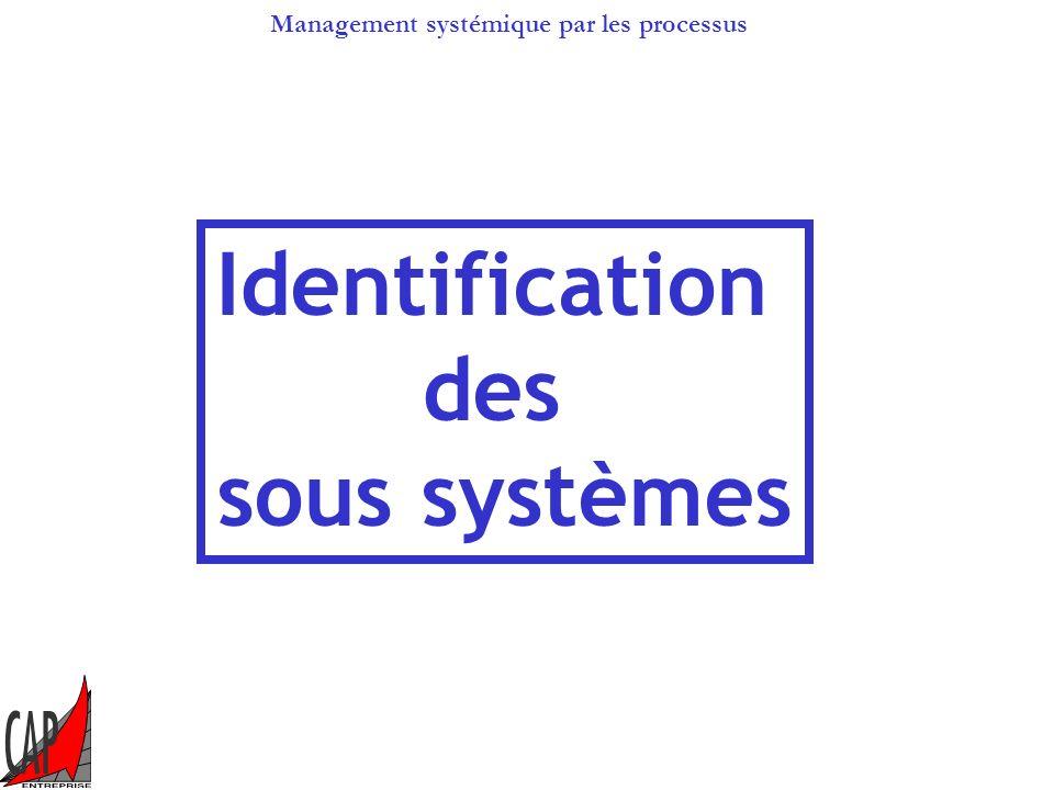 Management systémique par les processus Lorganisation systémique Identifier les sous systèmes, Identifier les interactions, Mesurer les performances.