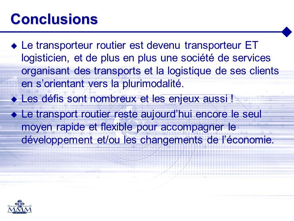 Conclusions Le transporteur routier est devenu transporteur ET logisticien, et de plus en plus une société de services organisant des transports et la