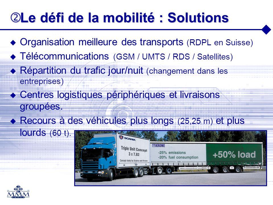 Le défi de la mobilité : Solutions Le défi de la mobilité : Solutions Organisation meilleure des transports (RDPL en Suisse) Télécommunications (GSM /