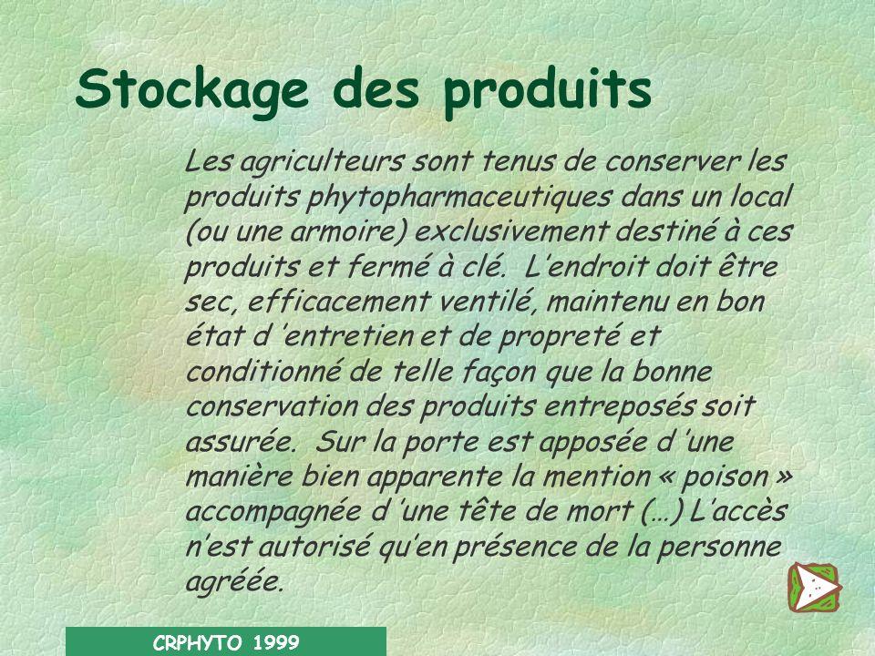 CRPHYTO 1999 –il doit veiller au nettoyage soigneux et immédiat de tout ustensile, objet ou véhicule qui a servi à l application du produit. –il doit
