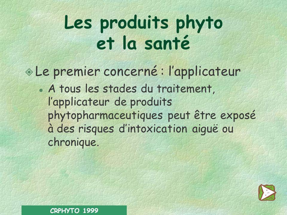 CRPHYTO 1999 Risques pour lhomme l Applicateur l Voisinage l Consommateur Risques pour lenvironnement l Faune l Flore l Ressources naturelles