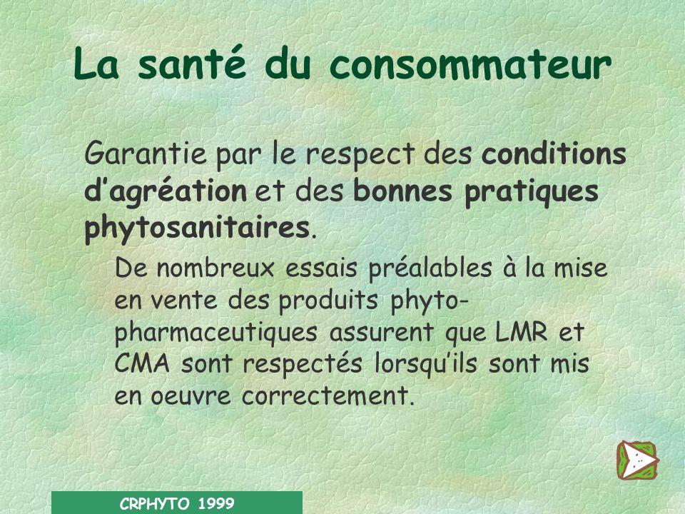 CRPHYTO 1999 La santé du consommateur Protégée par des normes en résidus. Afin de prévenir les risques à court et à long terme pour la santé des conso