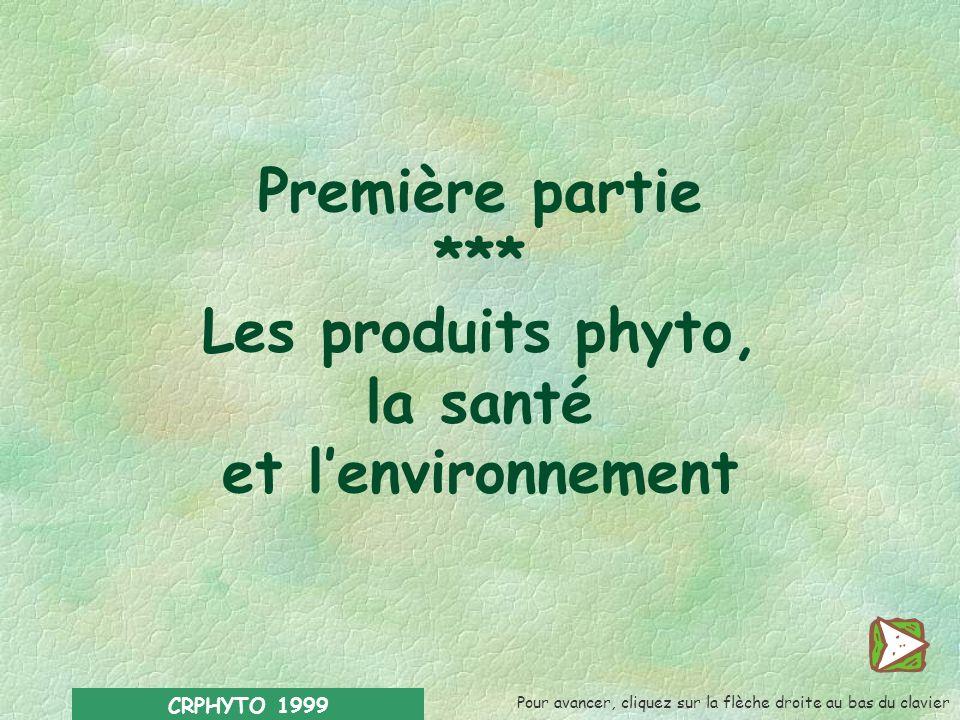 CRPHYTO 1999 Première partie *** Les produits phyto, la santé et lenvironnement Pour avancer, cliquez sur la flèche droite au bas du clavier