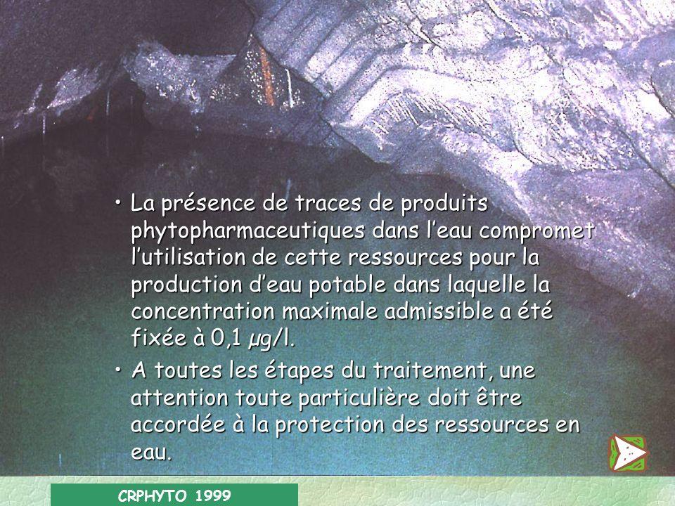 CRPHYTO 1999 Les ressources naturelles Les ressources en eau sont particulièrement exposées aux risques de contamination par les produits phytopharmac