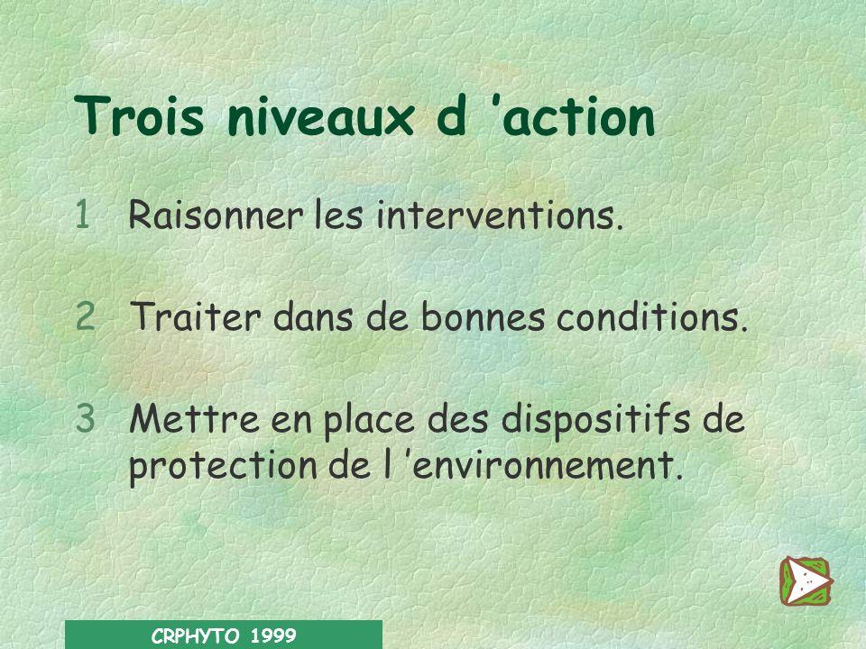 CRPHYTO 1999 La bonne pratique phytosanitaire a pour objectif dassurer une protection efficace des cultures tout en réduisant le plus possible les eff