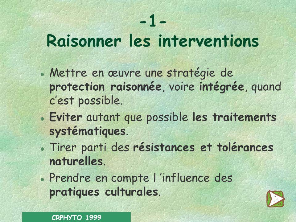 CRPHYTO 1999 Trois niveaux d action 1Raisonner les interventions. 2Traiter dans de bonnes conditions. 3Mettre en place des dispositifs de protection d