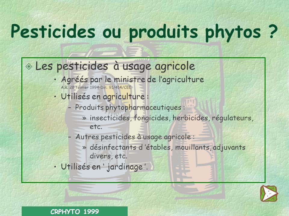 CRPHYTO 1999 Sources d informations : l Liste des pesticides à usage agricole agréés.