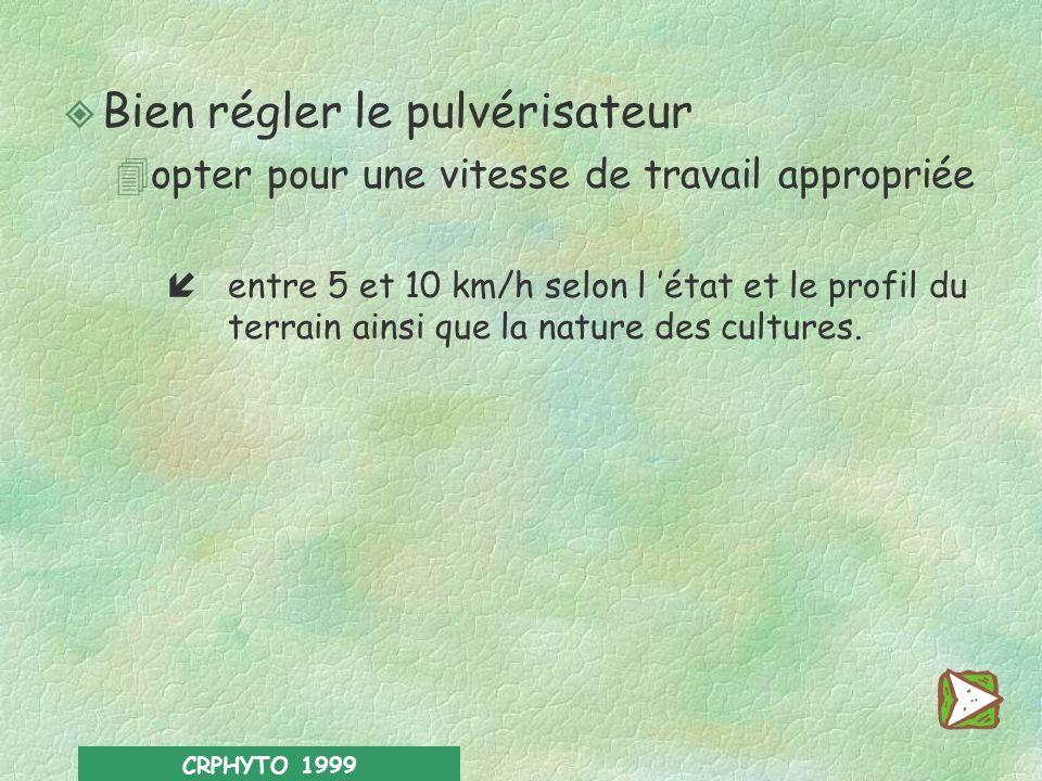 CRPHYTO 1999 Le pulvérisateur doit être en ordre de contrôle technique (A.M. 09/06/95 amendé le 31/08/98).Le pulvérisateur doit être en ordre de contr