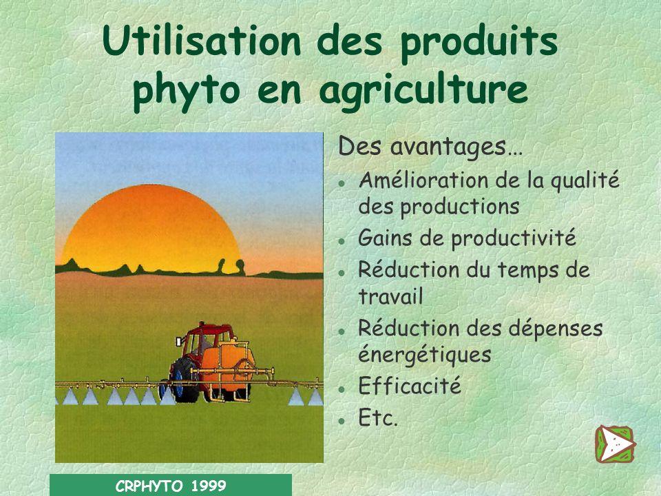 CRPHYTO 1999 La bonne pratique phytosanitaire a pour objectif dassurer une protection efficace des cultures tout en réduisant le plus possible les effets néfastes pour la santé de lutilisateur, de ses proches et du consommateur, ainsi que pour lenvironnement, les ressources naturelles, la vie sauvage et la biodiversité.