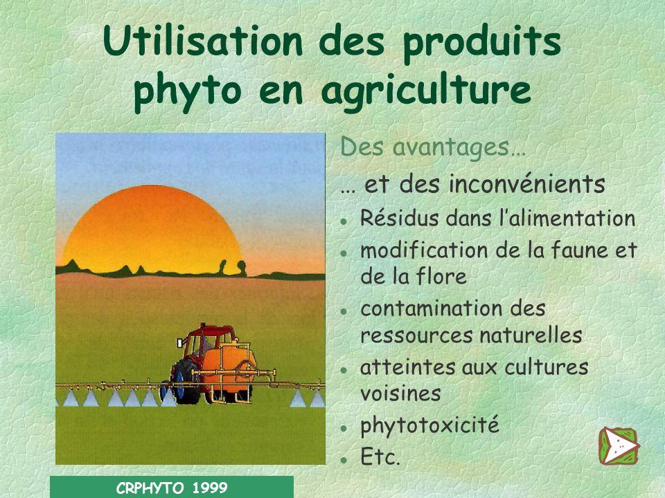 CRPHYTO 1999 Des avantages… … et des inconvénients l Résidus dans lalimentation l modification de la faune et de la flore l contamination des ressources naturelles l atteintes aux cultures voisines l phytotoxicité l Etc.
