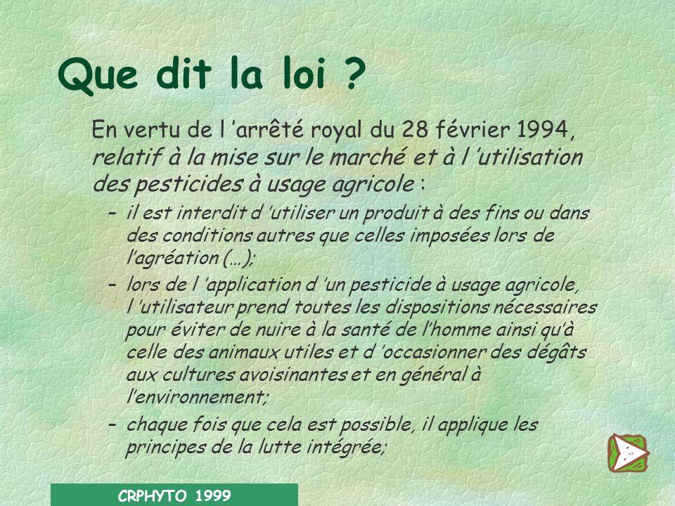 CRPHYTO 1999 Des avantages… … et des inconvénients l Résidus dans lalimentation l modification de la faune et de la flore l contamination des ressourc