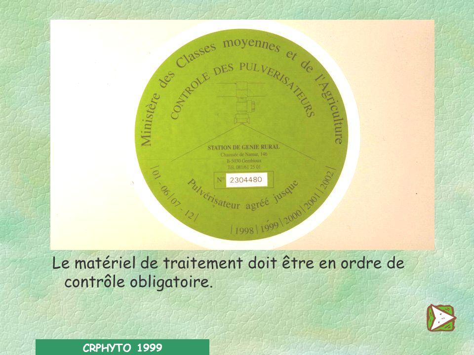 CRPHYTO 1999 Que dit la loi ? En vertu de l arrêté royal du 28 février 1994, relatif à la mise sur le marché et à l utilisation des pesticides à usage