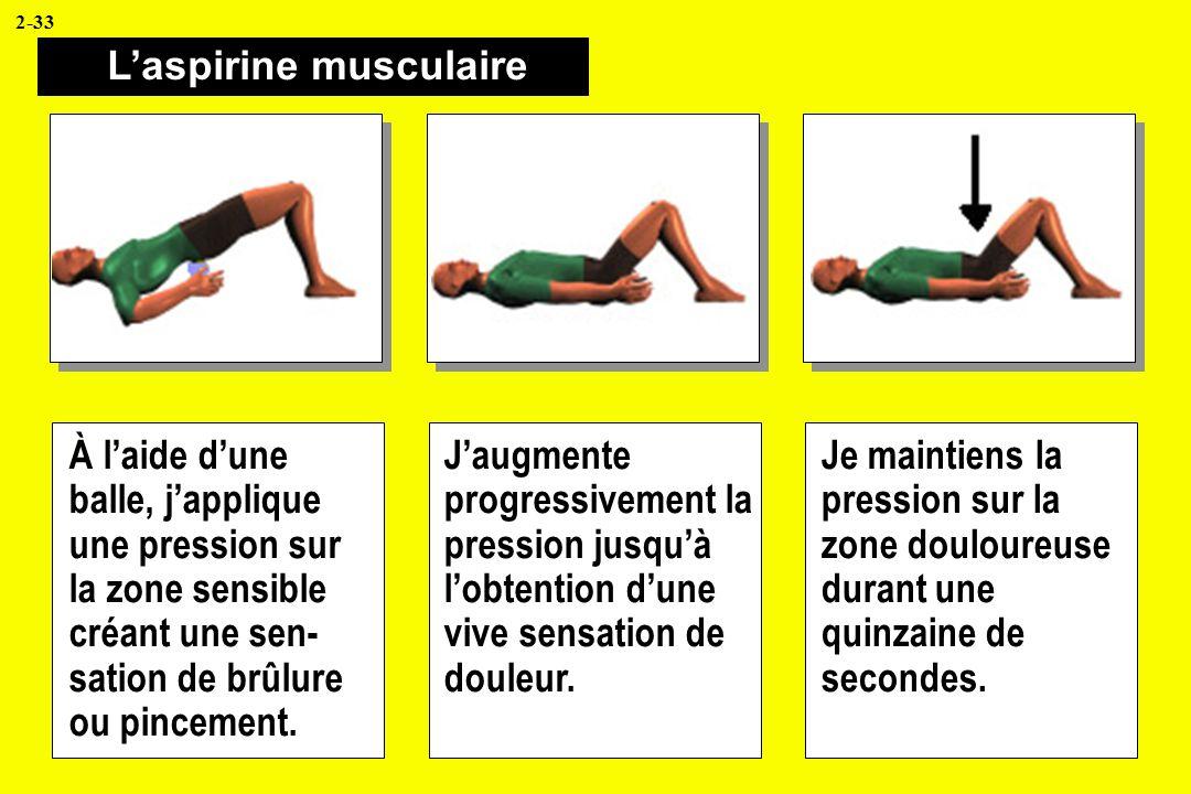Laspirine musculaire À laide dune balle, japplique une pression sur la zone sensible créant une sen- sation de brûlure ou pincement. Jaugmente progres