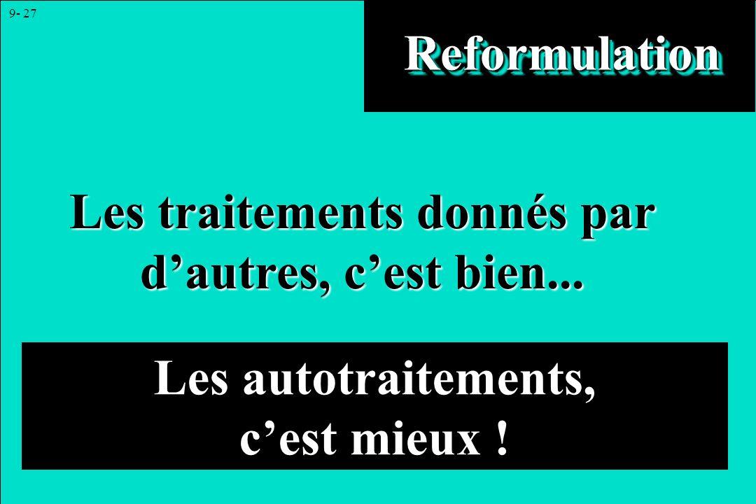 9- 27 ReformulationReformulation Les autotraitements, cest mieux ! Les traitements donnés par dautres, cest bien...