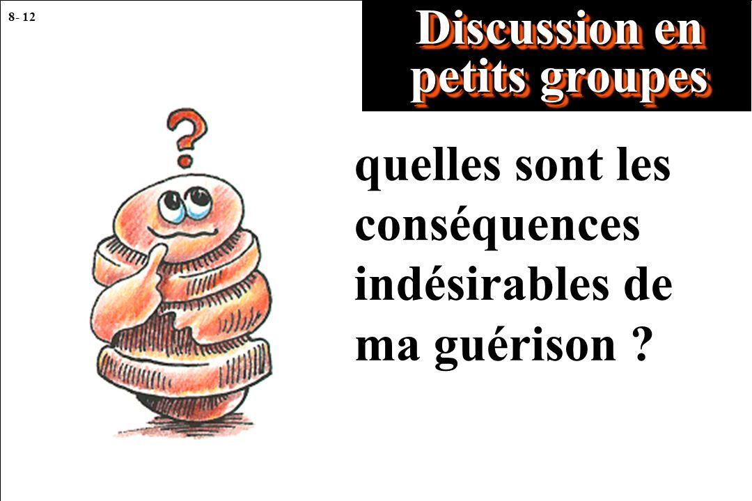 8- 12 Discussion en petits groupes quelles sont les conséquences indésirables de ma guérison ?