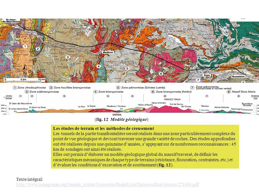 Les études de terrain et les méthodes de creusement Les tunnels de la partie transfrontalière seront réalisés dans une zone particulièrement complexe