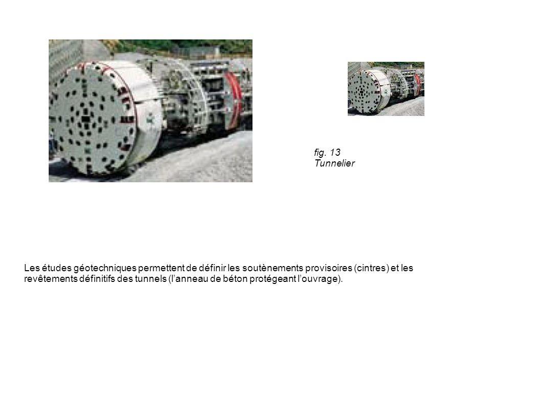 fig. 13 Tunnelier Les études géotechniques permettent de définir les soutènements provisoires (cintres) et les revêtements définitifs des tunnels (lan