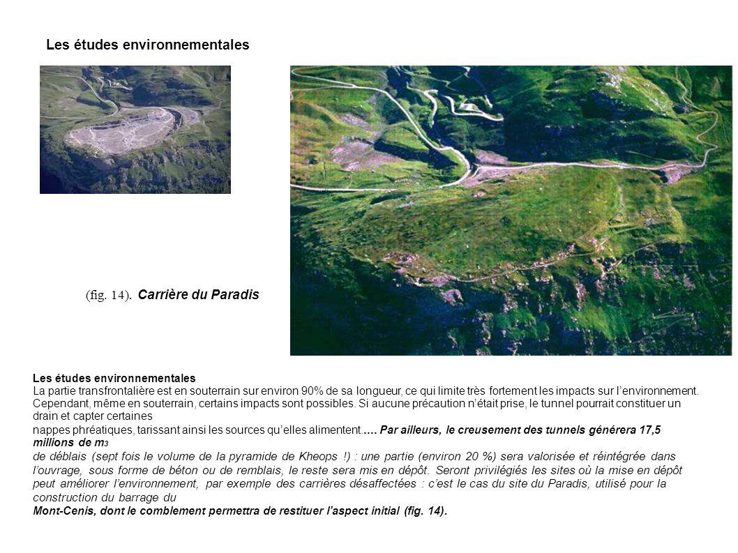 Les études environnementales La partie transfrontalière est en souterrain sur environ 90% de sa longueur, ce qui limite très fortement les impacts sur
