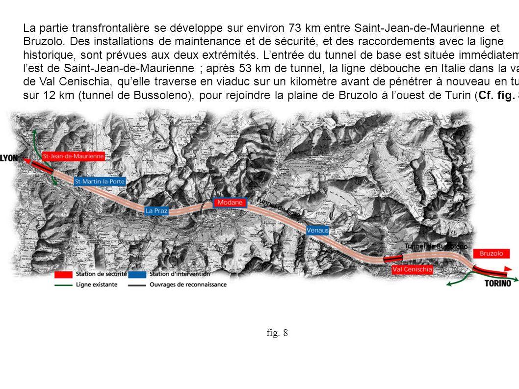 La partie transfrontalière se développe sur environ 73 km entre Saint-Jean-de-Maurienne et Bruzolo. Des installations de maintenance et de sécurité, e