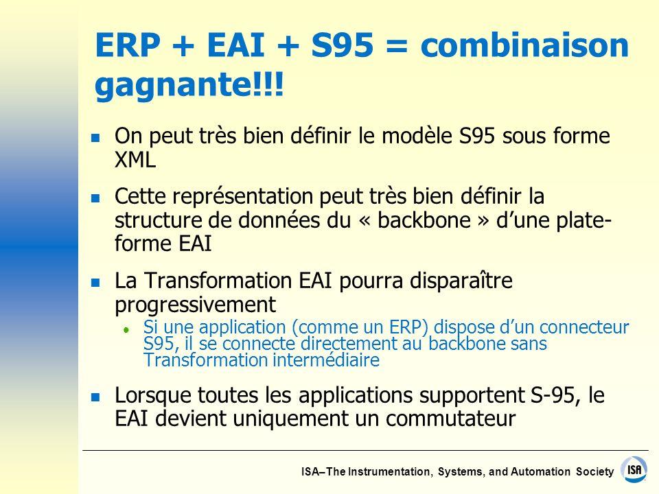 ISA–The Instrumentation, Systems, and Automation Society ERP + EAI + S95 = combinaison gagnante!!! n On peut très bien définir le modèle S95 sous form