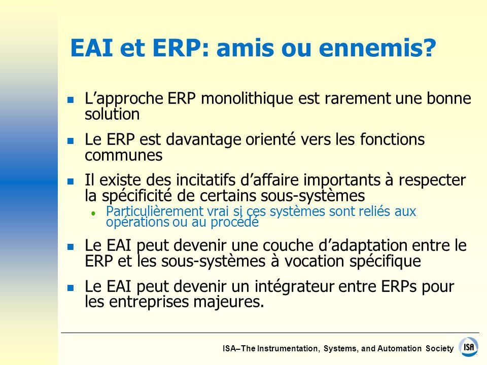 ISA–The Instrumentation, Systems, and Automation Society EAI et ERP: amis ou ennemis? n Lapproche ERP monolithique est rarement une bonne solution n L