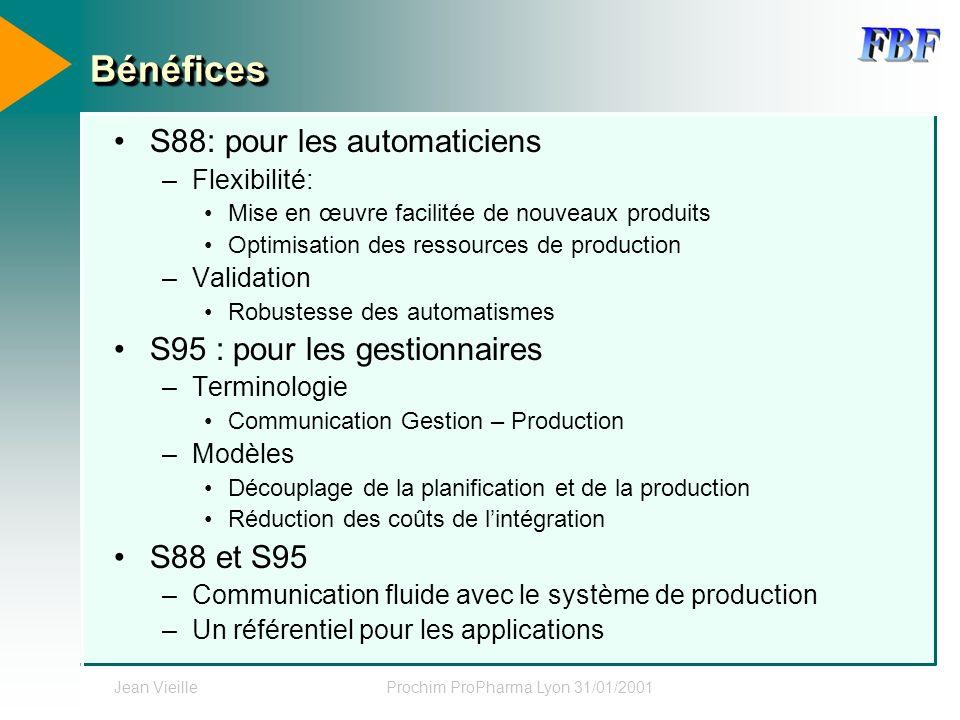 Jean VieilleProchim ProPharma Lyon 31/01/2001 BénéficesBénéfices S88: pour les automaticiens –Flexibilité: Mise en œuvre facilitée de nouveaux produit